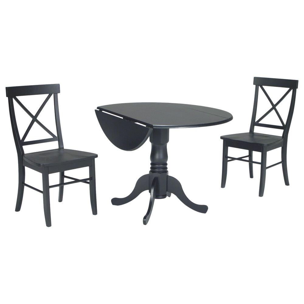 International Concepts Transitional 3-Piece Dining Set in Black, , large