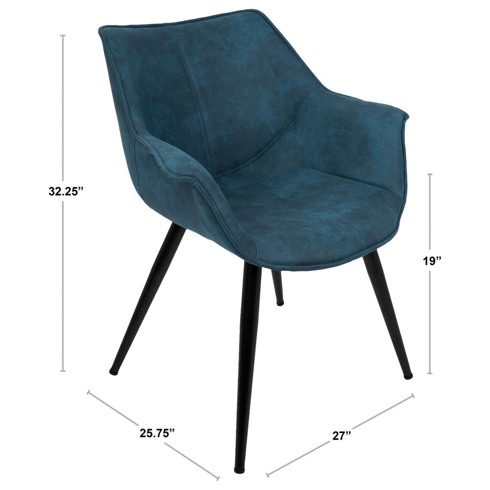 Lumisource Wrangler Accent Chair in Blue Cowboy and Black (Set of 2), , large