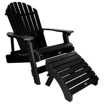 Highwood USA Hamilton Adirondack Chair & Ottoman in Black, , large