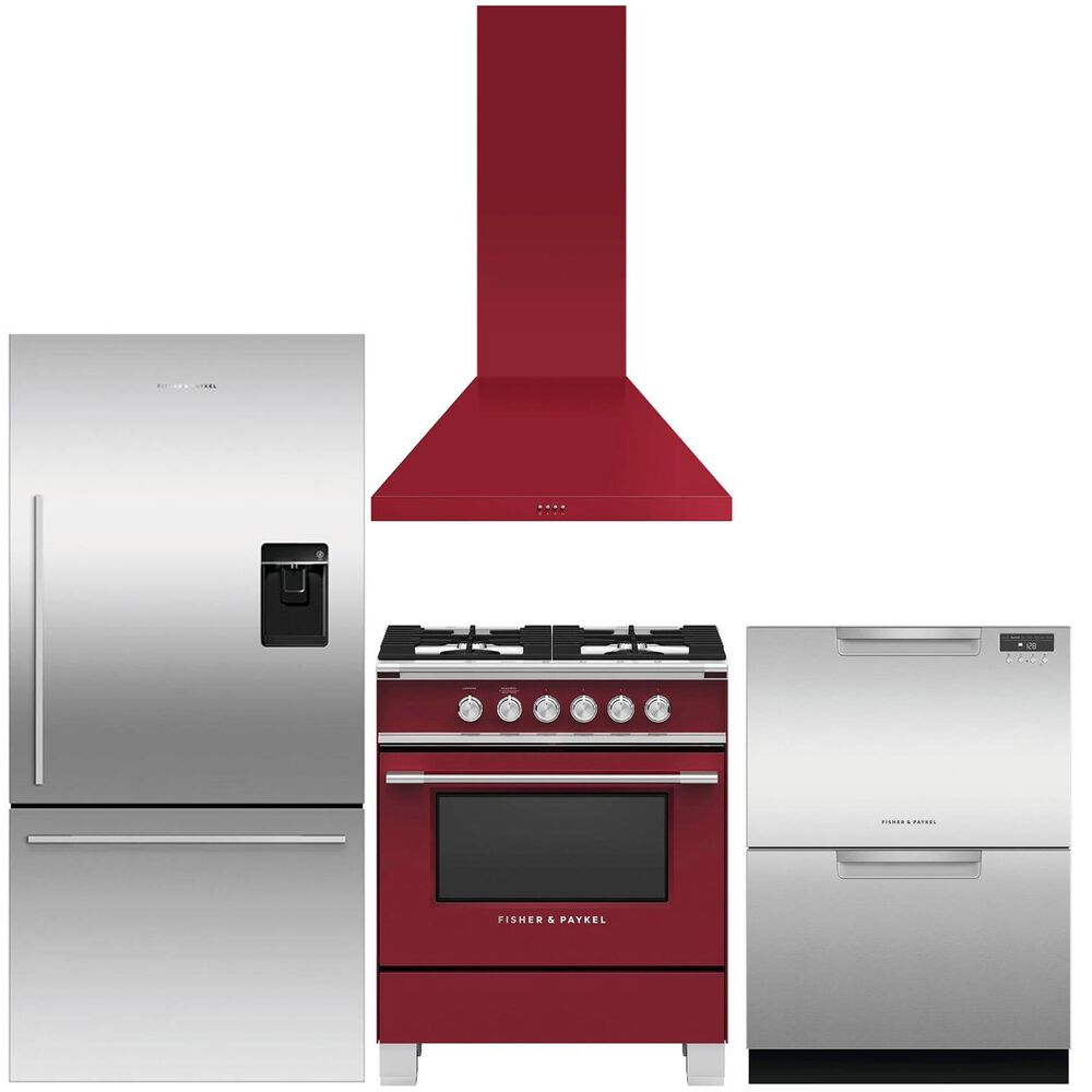 Fisher and Paykel 4-Piece Kitchen Package with Gas Range and Range Hood in Red and Refrigerator and Dishwasher in Stainless Steel , , large