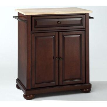 Crosley Furniture Alexandria Natural Wood Top Portable Kitchen Island in Vintage Mahogany, , large