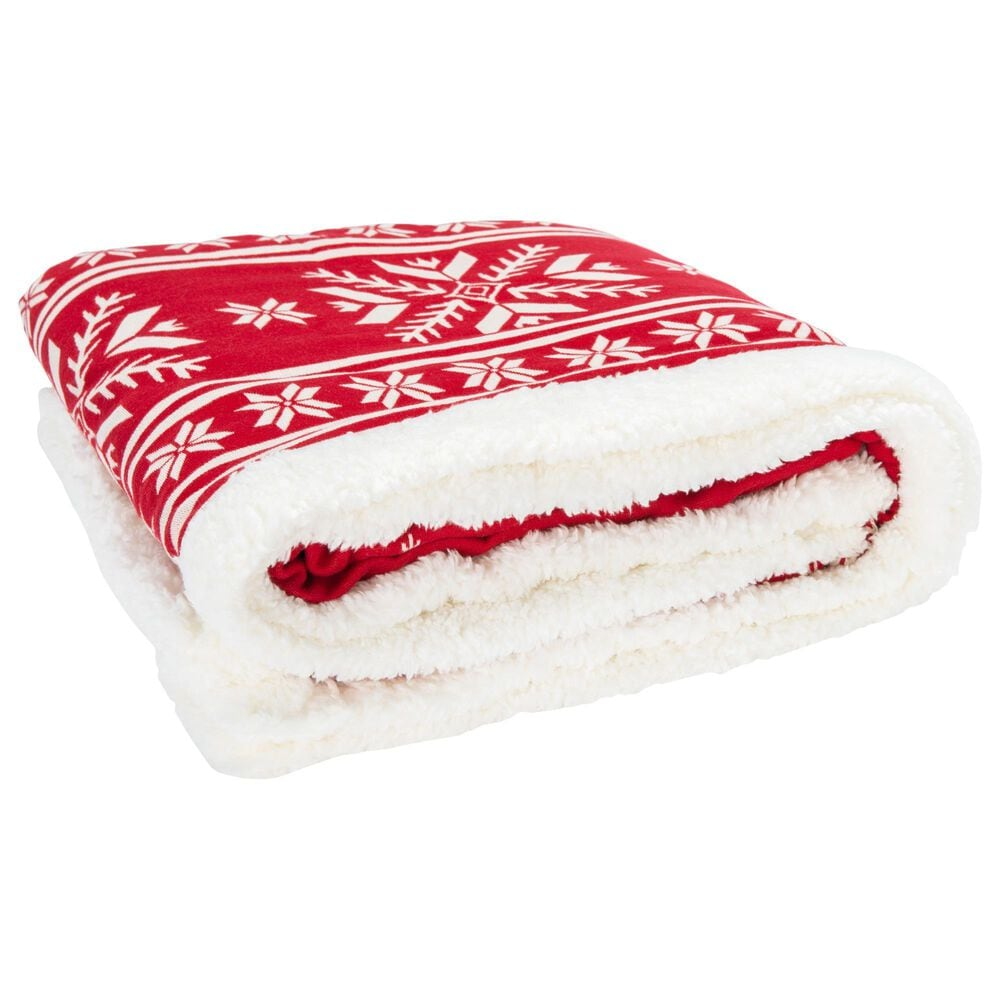 """Safavieh Holiday Wintry 50"""" x 60"""" Throw in Red, , large"""