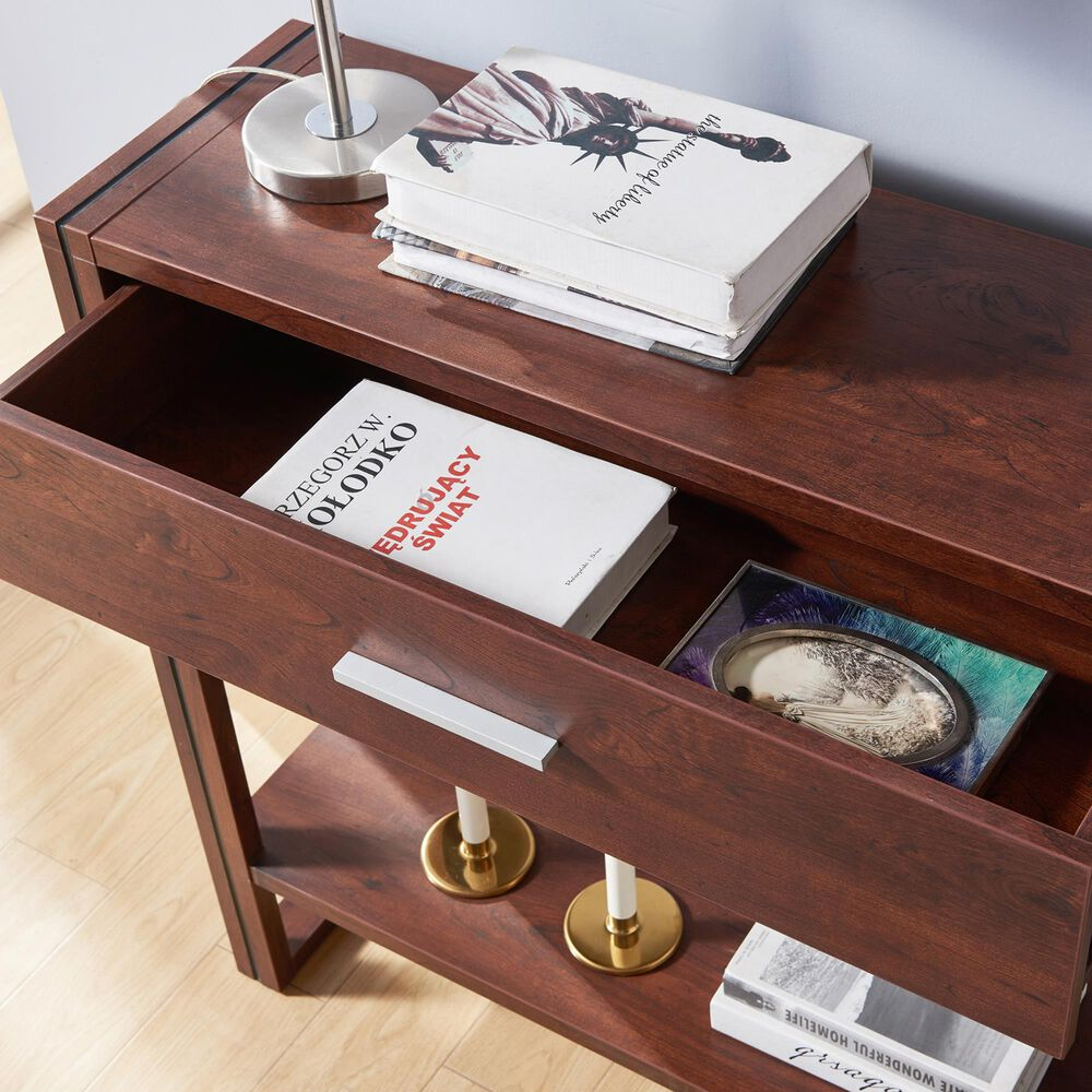 Furniture of America Faulkner Console Table in Vintage Walnut, , large
