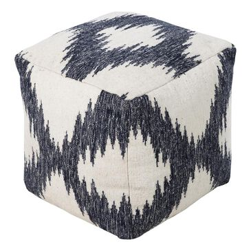 Surya Inc Pouf in Ivory and Navy, , large