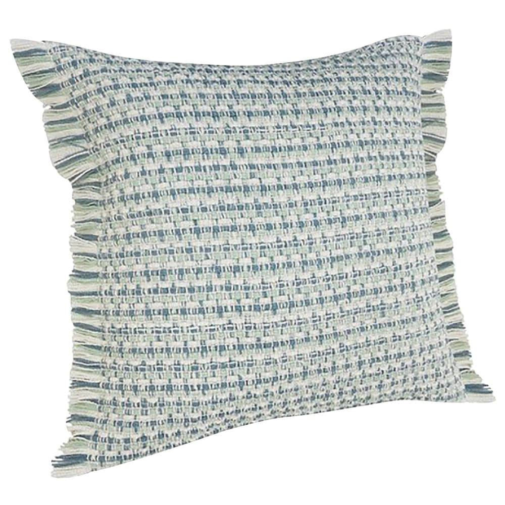 """L.R. RESOURCES 24"""" x 24"""" Fringed Outdoor Pillow in Blue, Green and White, , large"""