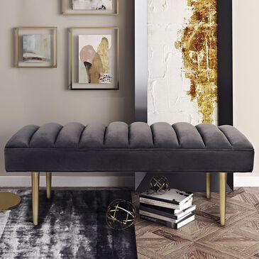 Tov Furniture Jax Velvet Bench in Grey, , large