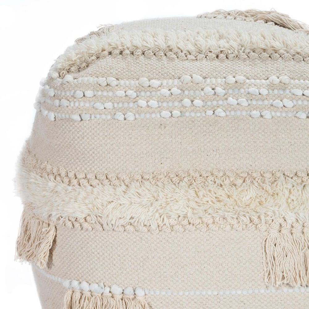 Butler Sherpa Pouffe in Off White, , large
