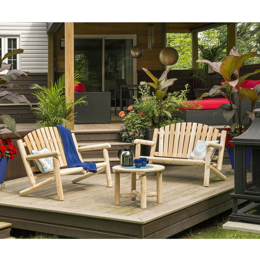 Bestar Outdoor White Cedar Round Coffee Table in Natural, , large