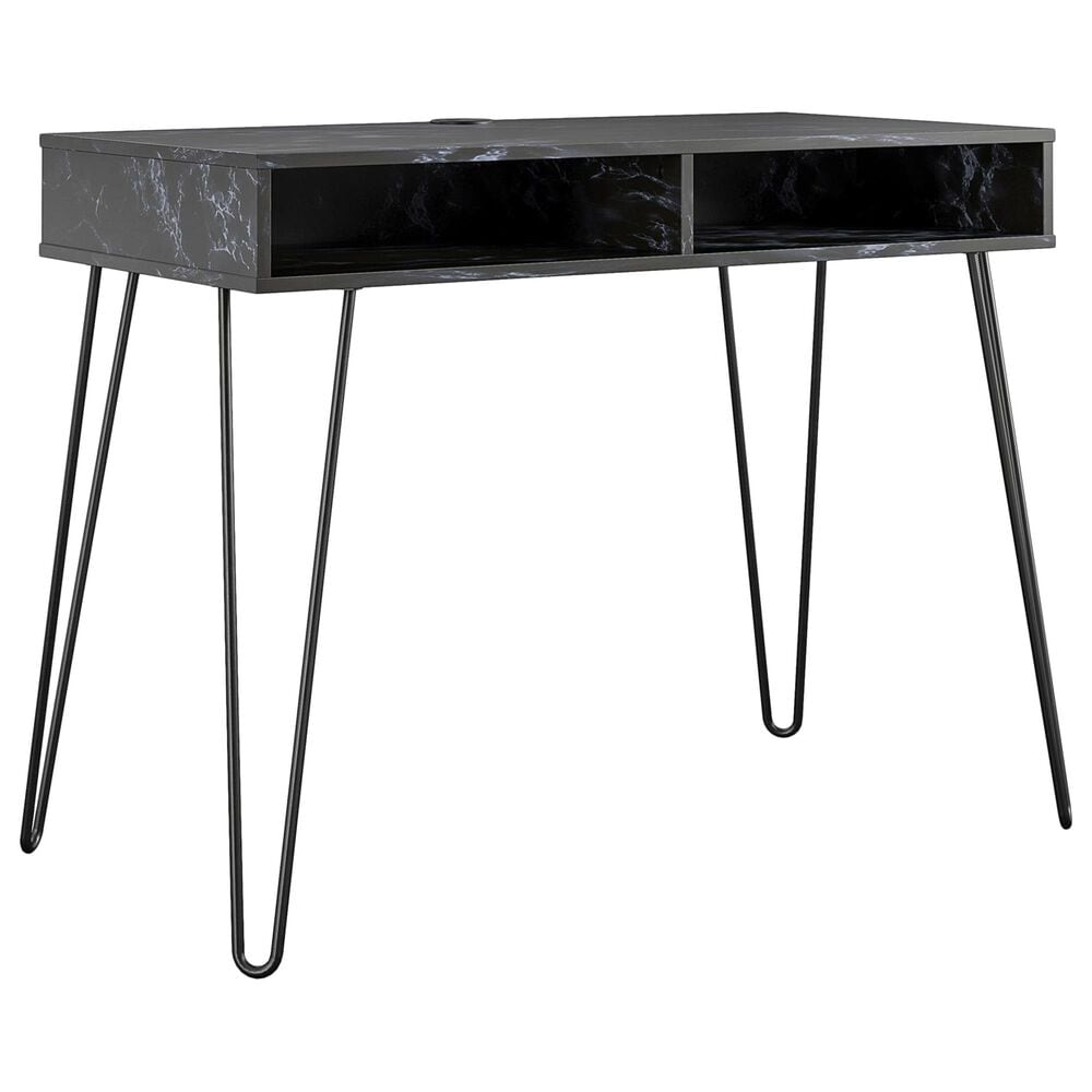 Novogratz Athena Computer Desk with Storage in Black Marble, , large