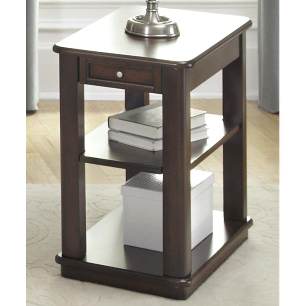 Belle Furnishings Wallace Chair Side Table in Dark Toffee, , large