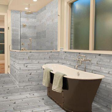 "Emser Stacked Slate White Quartzite 6"" x 24"" Natural Stone Tile, , large"