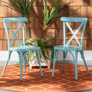 Safavieh Axton Stackable Side Chair in Baby Blue (Set of 2), , large