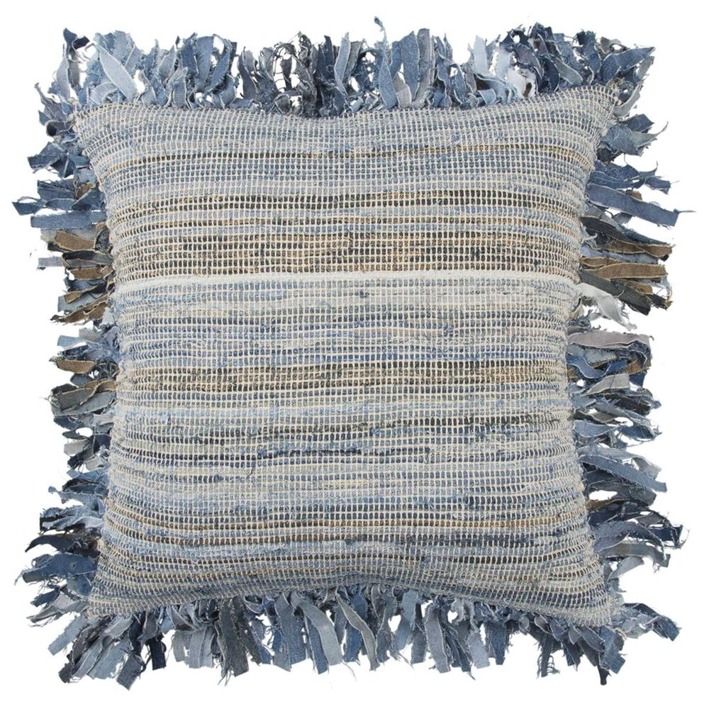 """Rizzy Home 22"""" x 22"""" Pillow Cover in Blue with Fringe, , large"""