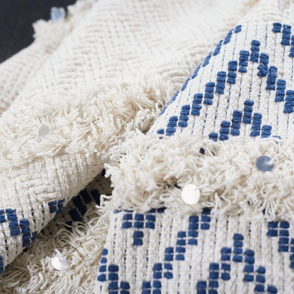 """Safavieh Theanna 50"""" x 60"""" Throw in Ivory and Blue, , large"""