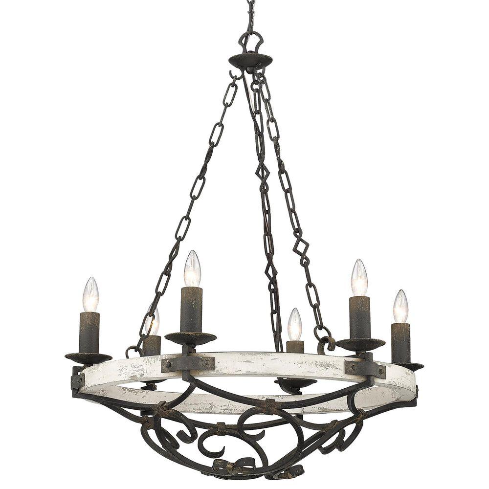 Golden Lighting Madera 6-Light Chandelier in Antique Black Iron, , large