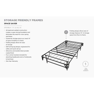 Glideaway Full Space Saver Frame in Black, , large