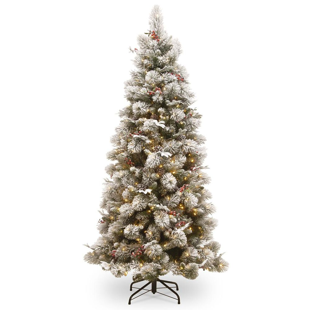 """National Tree 7.5"""" Snowy Bedford Pine Slim Tree with Red Berries, Cedar Leaves, Mixed Cones & 500 White Lights, , large"""