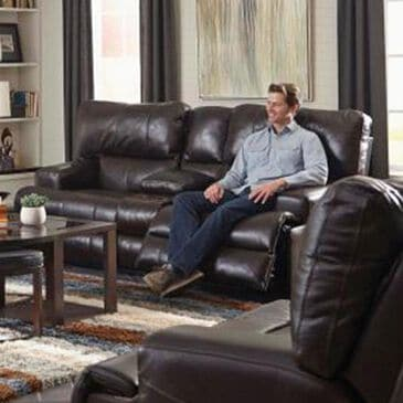 Portland Industries Wembley Power Headrest Console Loveseat in Chocolate, , large
