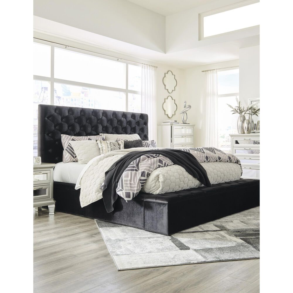 Signature Design by Ashley Lindenfield King Upholstered Bed with Storage in Black, , large