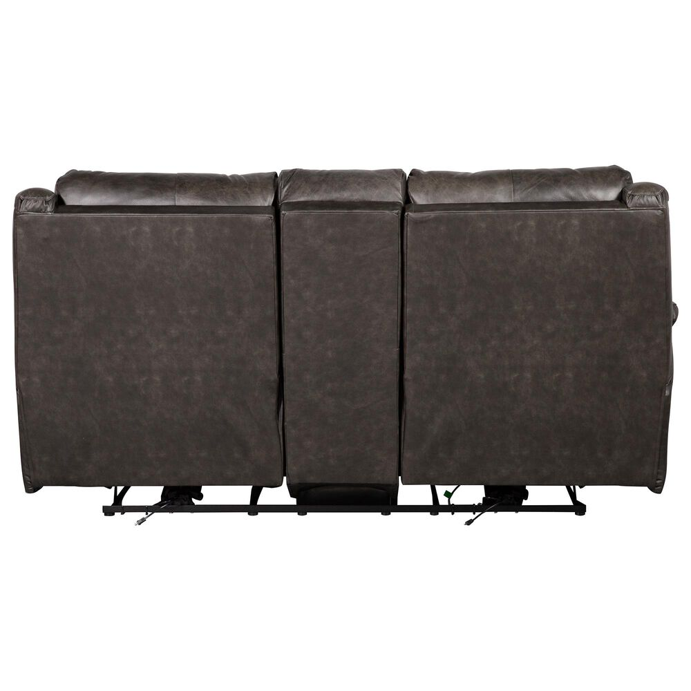 Southern Motion Essex Leather Power Console Loveseat with Power Headrest in Slate Gray, , large