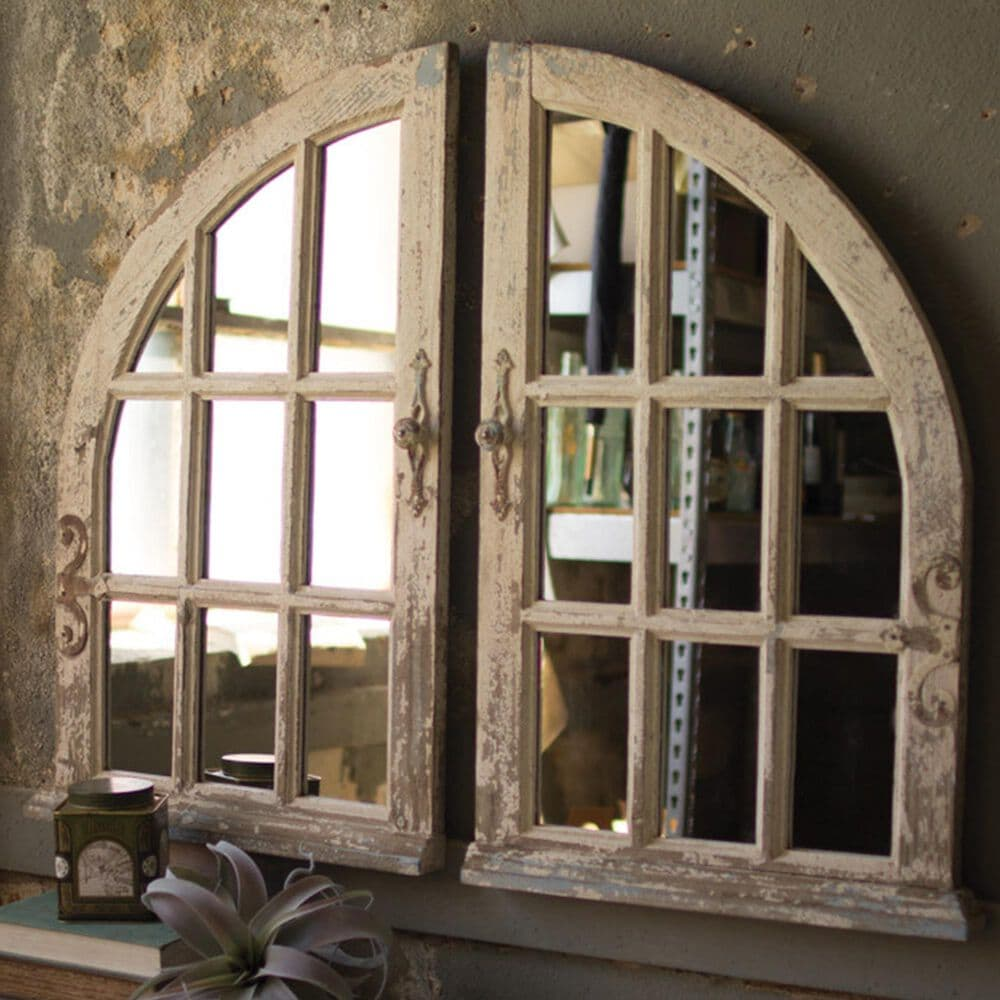 Kalalou Arched Window Mirror (Set of 2), , large