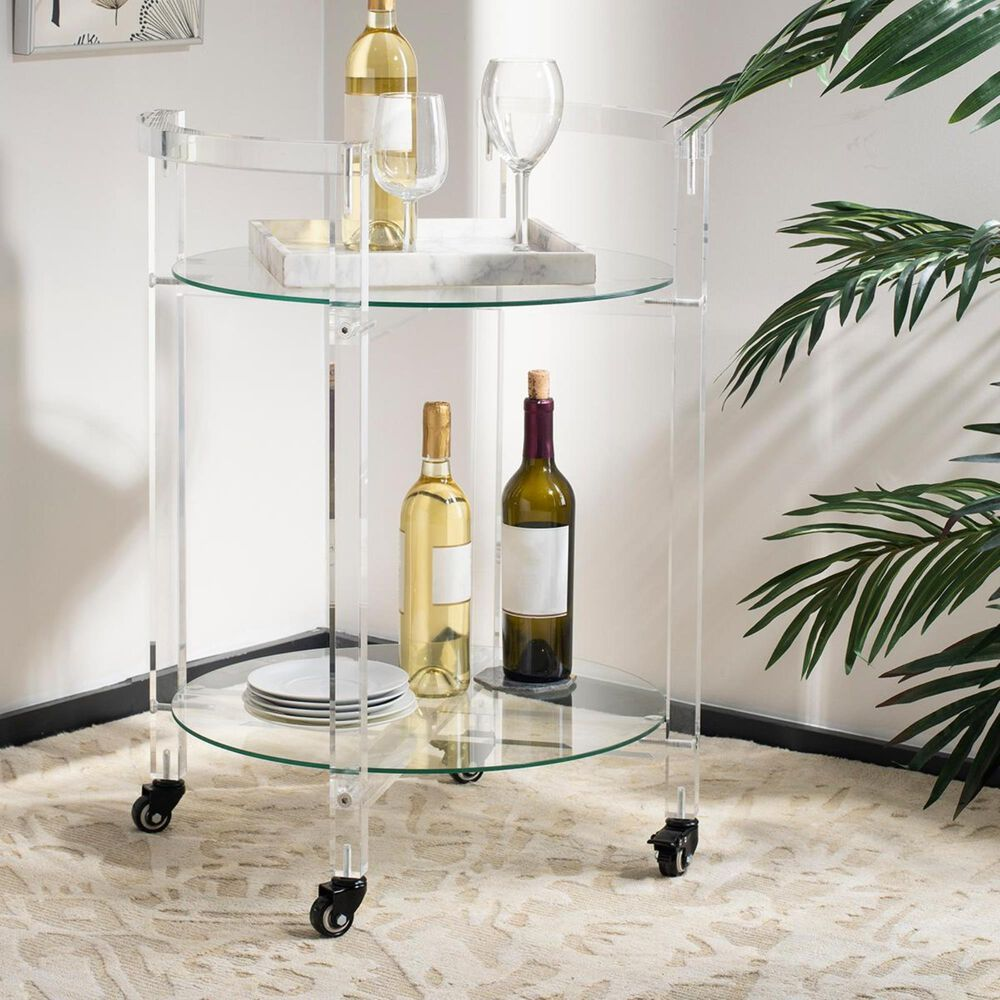 Safavieh Jules 2-Tier Acrylic Bar Cart in Clear, , large