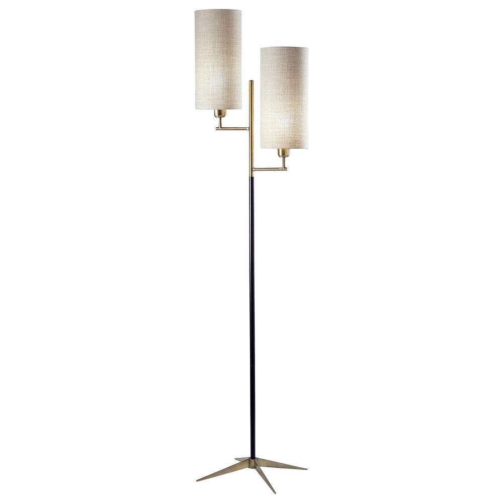 Adesso Davis Floor Lamp in Matte Black and Antique Brass, , large