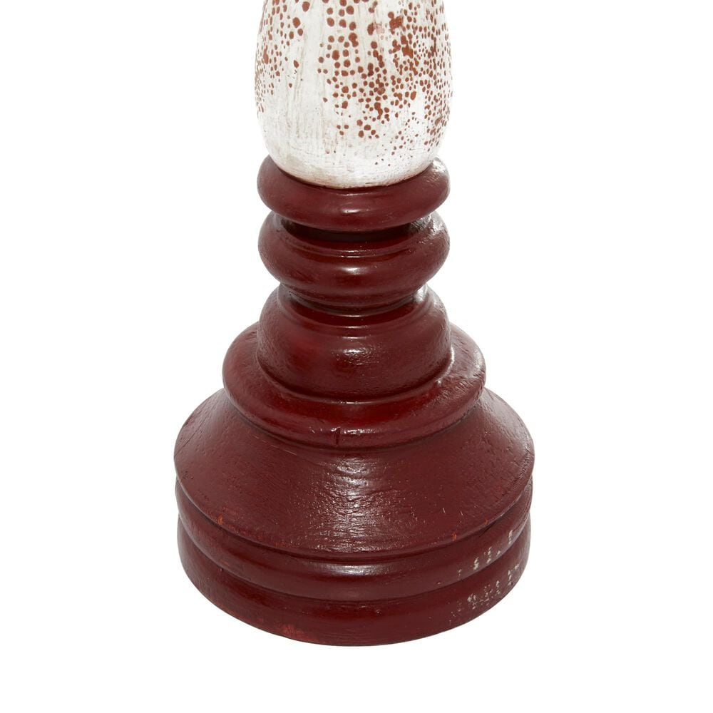 Maple and Jade Farmhouse Wood Candle Holder Set of 3 in Red , , large