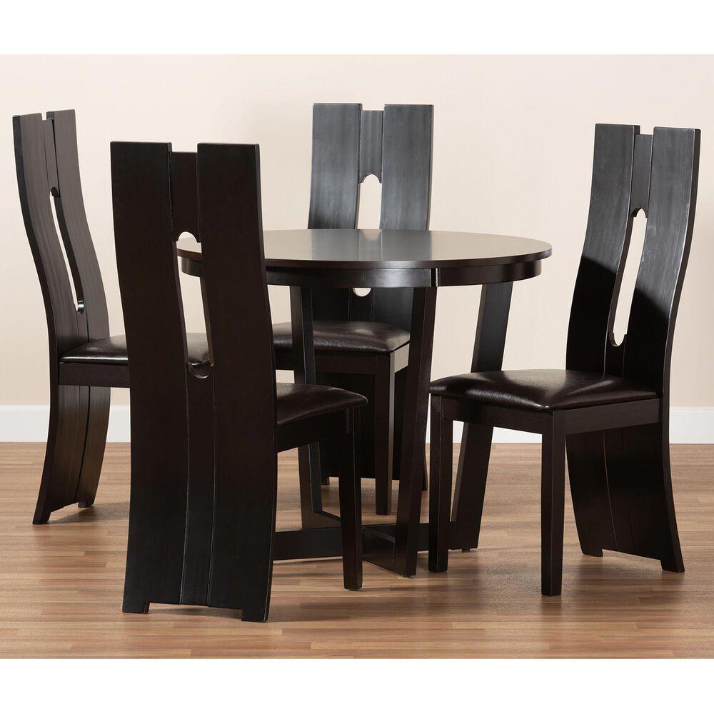 Baxton Studio Sorley 5-Piece Dining Set in Dark Brown/Dark Brown, , large