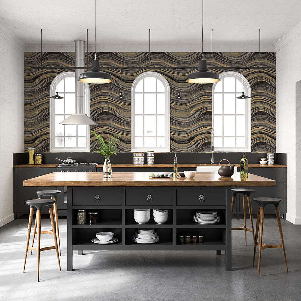 Tempaper Travertine Black & Gold Peel and Stick Wallpaper, , large