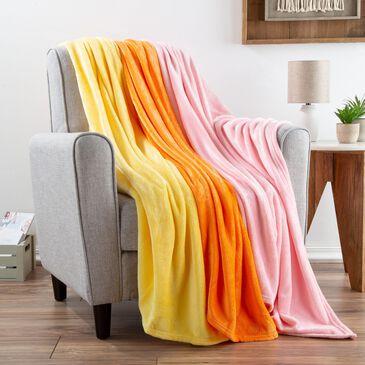 """Timberlake Lavish Home 60"""" x 50"""" Fleece Throw in Butter Yellow/Orange/Soft Pink (Set of 3), , large"""