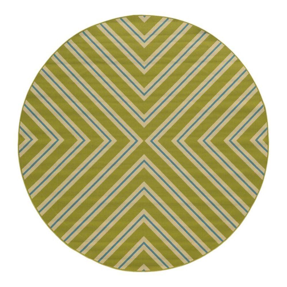 "Oriental Weavers Riviera 4589 7""10"" Round Green Area Rug, , large"
