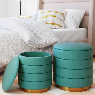 Tov Furniture Saturn Storage Ottoman in Teal (Set of 2), , large