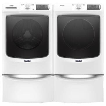 Maytag 4.8 Cu. Ft. Front Load Washer and 7.3 Cu. Ft. Electric Dryer Laundry Pair with Pedestal in White, , large