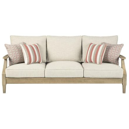 Signature Design by Ashley Clare View Sofa with Beige Cushion in Antique Teak