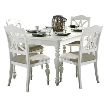Belle Furnishings Summer House 5-Piece Rectangular Table Set in Oyster White, , large