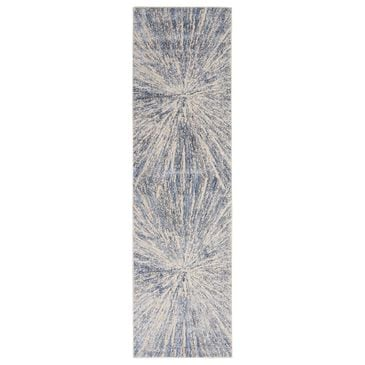 "Nourison Silky Textures SLY05 2'2"" x 7'6"" Blue and Grey Runner, , large"