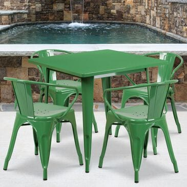 Flash Furniture 5-Piece Metal Square Table Set in Green, , large