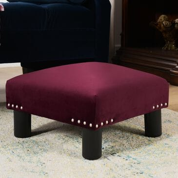 Jennifer Taylor Home Jules Square Accent Footstool Ottoman in Burgundy, , large