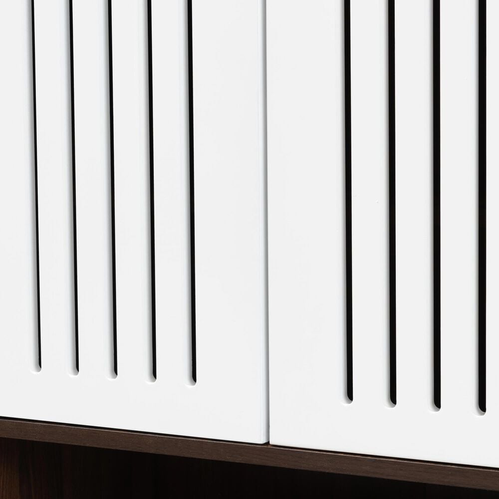 Baxton Studio Mieke 2-Door Shoe Cabinet in Walnut/White, , large