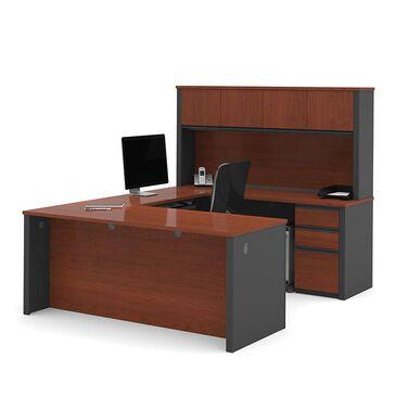 Bestar Prestige Plus U-Shaped Workstation Kit in Bordeaux and Graphite, , large