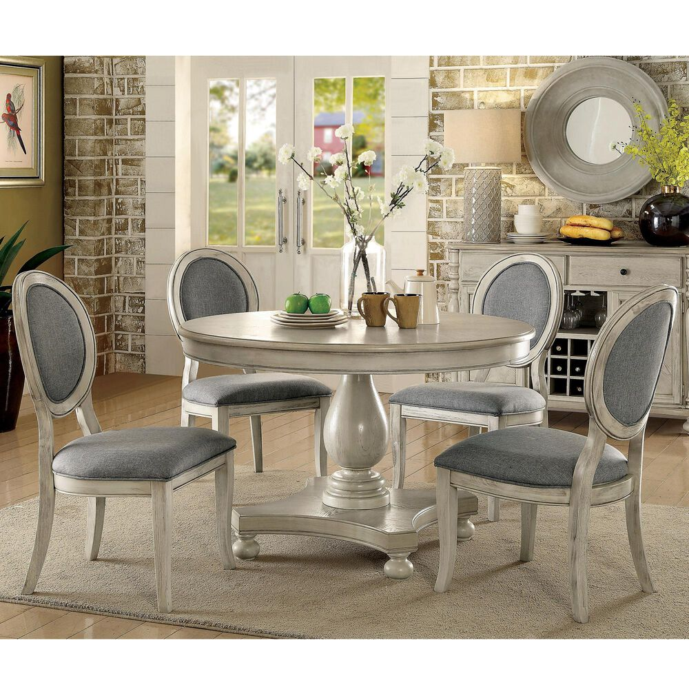 Furniture of America Edmun 5-Piece Dining Set in Gray, , large