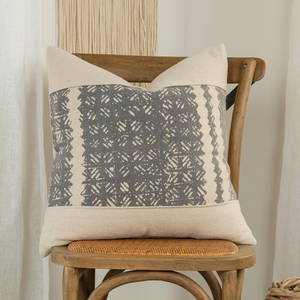 """Rizzy Home Donny Osmond 20"""" Down Filled Pillow in Charcoal and Cream, , large"""