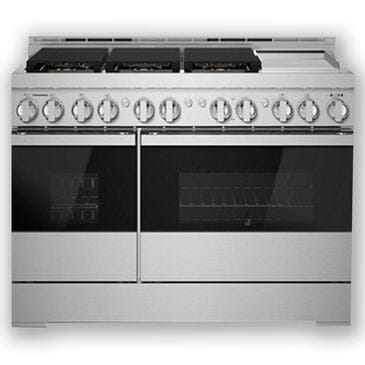 """Jenn-Air 48"""" Gas Professional Range with Chrome-Infused Griddle in Black Glass, , large"""
