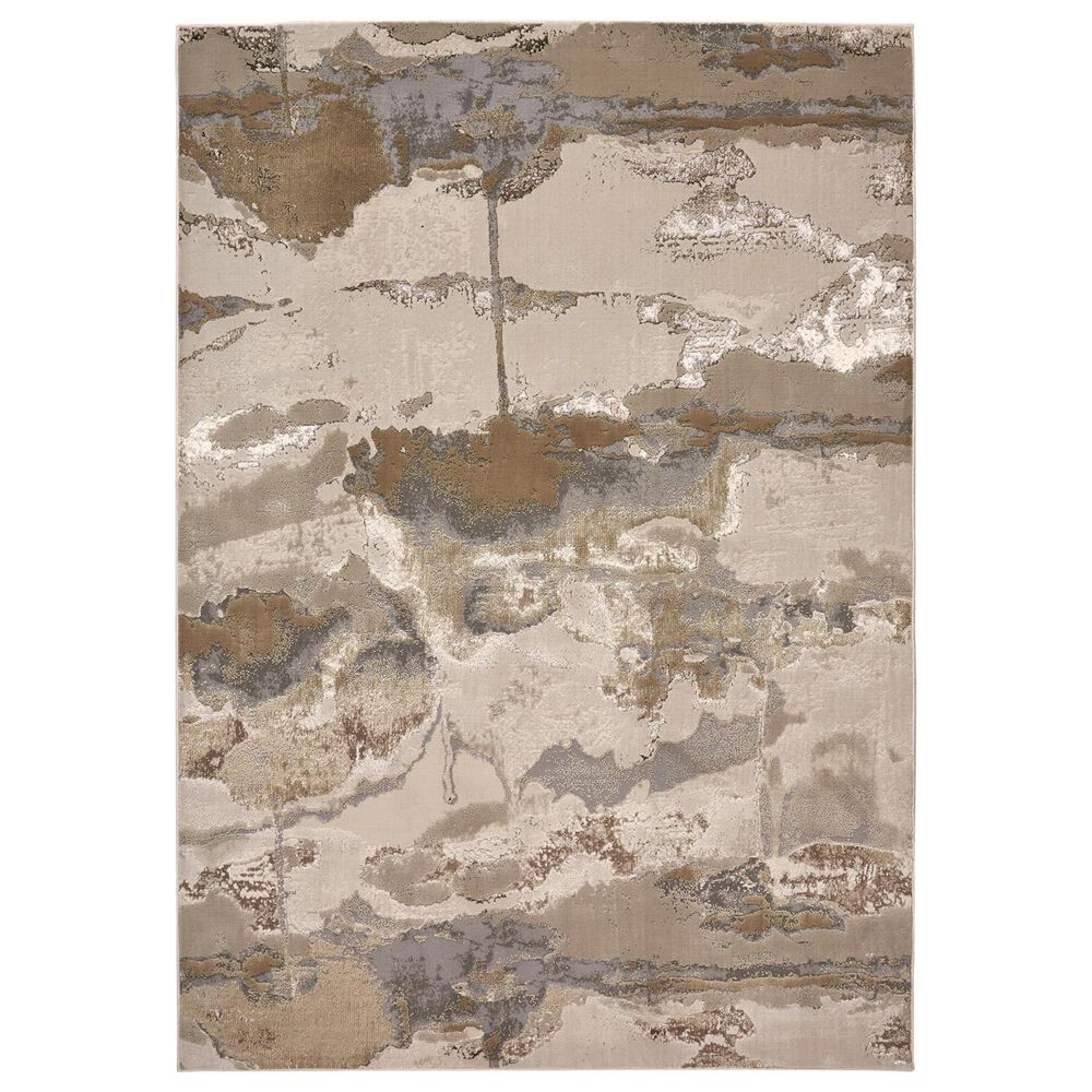 Feizy Rugs Aura 3737F 8' x 11' Gold and Gray Area Rug, , large