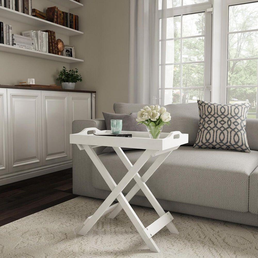 Timberlake Lavish Home Folding End Table in White, , large