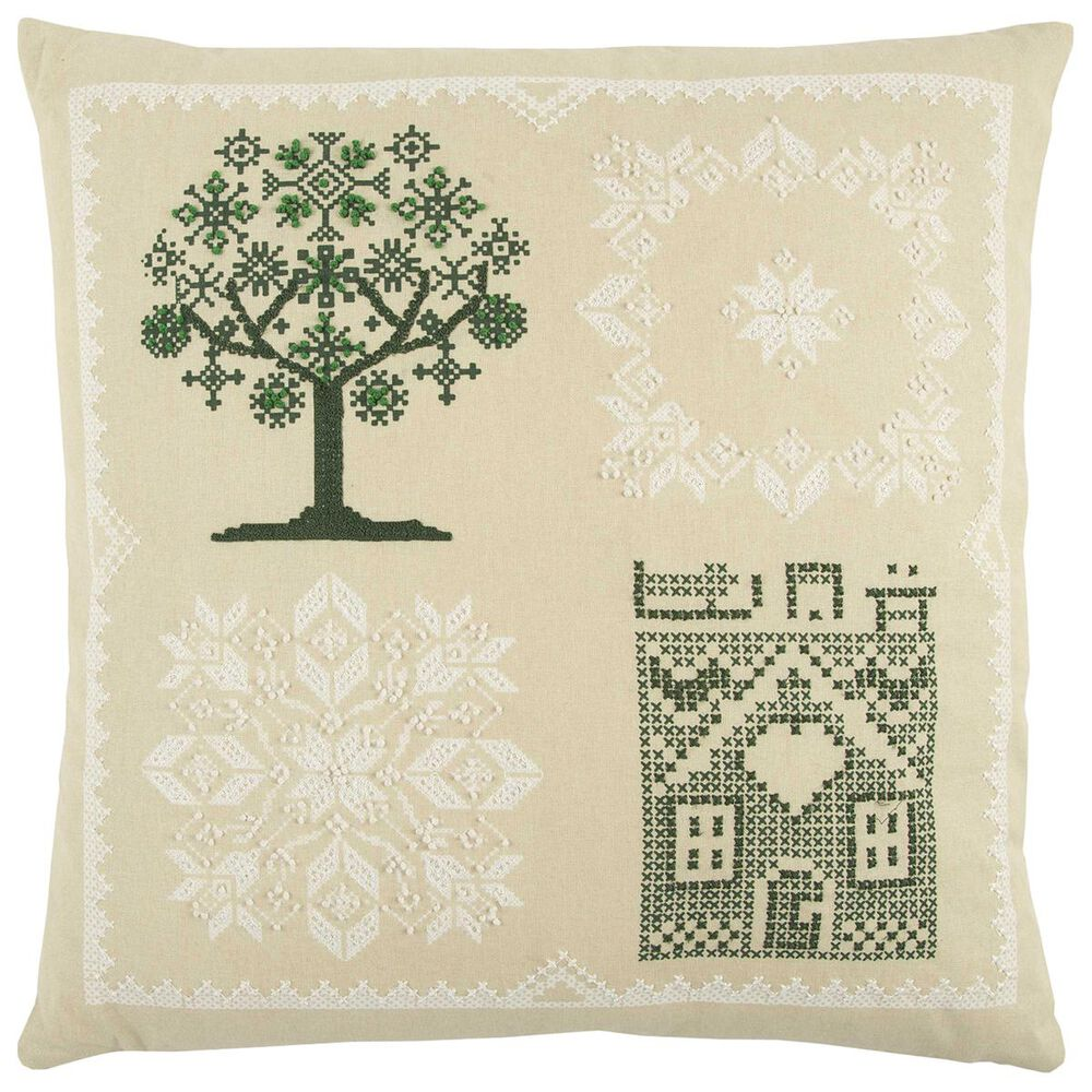 """Rizzy Home 20"""" x 20"""" Pillow Cover in Green and White, , large"""