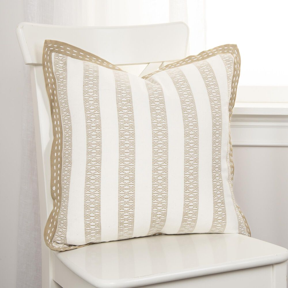 """Rizzy Home Striped 18"""" Pillow in Khaki/Ivory, , large"""