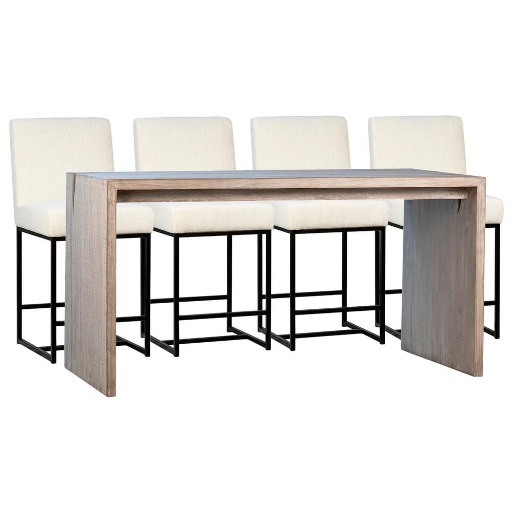 Blue Sun Designs Merwin and Mayes 5-Piece Counter Dining Set in White Wash and Black, , large