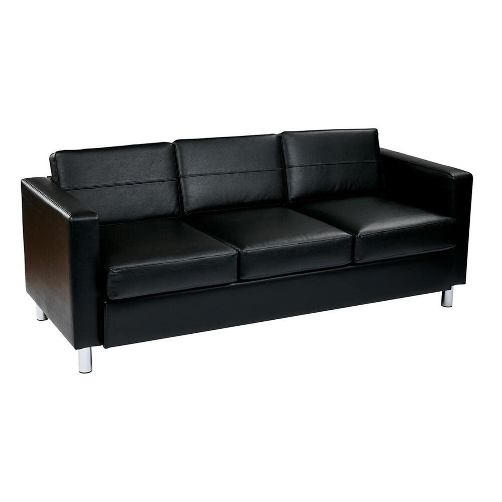 OSP Home Pacific Easy-Care Black Faux Leather Sofa Couch, , large
